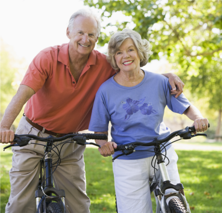 Senior-Couple-On-Bicycles